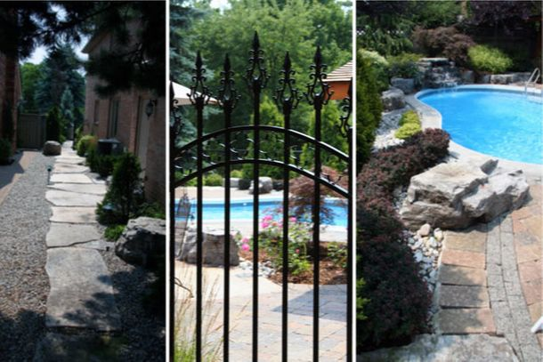 Custom Walkway - Wrought Iron Gate - Pool & Patio Design