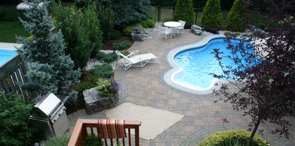 Backyard with pool and deck